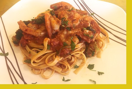 Chile-Garlic Shrimp Fettuccine